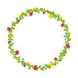 Cute thin spring floral wreath with berries and blooms isolated. Vector Stock Photo