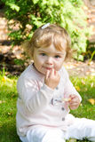 Cute thinking infant Stock Images