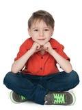 Cute thoughtful boy Stock Photos