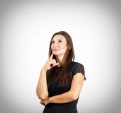 Cute thoughtful woman portrait with vignette Stock Images