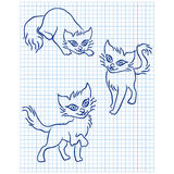 Cute three cats on a checkered sheet Royalty Free Stock Photography