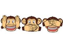 Cute three mokeys illustration cartoon drawing white background stock illustration