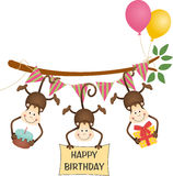 Cute three monkeys happy birthday Stock Photography