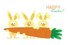 Cute three rabbits are holding huge carrots. Vector illustration stock illustration
