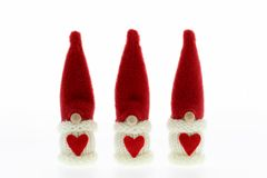 Cute three Santa's Christmas decoration. Isolated on white stock photo