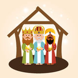 Cute three wise kings manger Stock Images