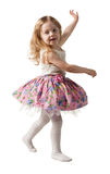 Cute three-year girl jumping with joy isolated on white background Royalty Free Stock Photography