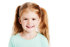 Cute Three Year Old Girl. Studio portrait of cute three year old girl. Isolated on white background Royalty Free Stock Images