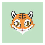 Cute tiger avatar with flat colors. Illustration of a cute tiger Royalty Free Stock Photo