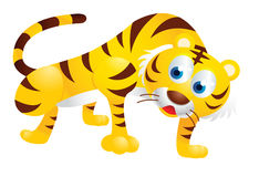Cute tiger cartoon. Posing and smiling Royalty Free Stock Photos