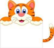 Cute tiger cartoon with blank sign Stock Photo