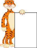 Cute tiger cartoon with blank sign Stock Images