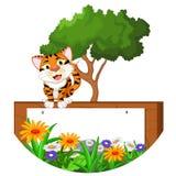 Cute tiger cartoon with blank sign. Illustration of cute tiger cartoon with blank sign Royalty Free Stock Photos