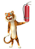 Cute Tiger cartoon character with fire extinguishing. 3d rendered illustration of Tiger cartoon character with fire extinguishing Stock Image