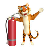 Cute Tiger cartoon character with fire extinguishing. 3d rendered illustration of Tiger cartoon character with fire extinguishing Royalty Free Stock Image