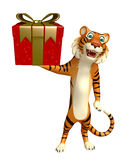 Cute Tiger cartoon character with giftbox Stock Photo
