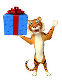 Cute Tiger cartoon character with giftbox Stock Image