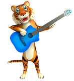 Cute Tiger cartoon character with guitar Royalty Free Stock Images