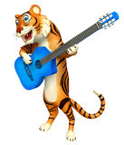 Cute Tiger cartoon character with guitar Stock Photo