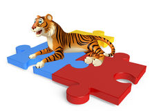 Cute Tiger cartoon character with puzzle Royalty Free Stock Images