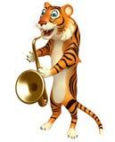Cute Tiger cartoon character with saxophone Stock Photos