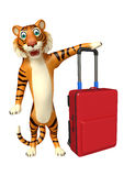 Cute Tiger cartoon character with travelbag Stock Photography