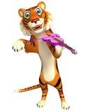 Cute Tiger cartoon character with violin Stock Photos