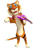 Cute Tiger cartoon character with violin Stock Image