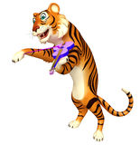 Cute Tiger cartoon character with violin Stock Images