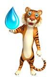 Cute Tiger cartoon character with water drop Stock Photos
