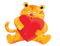 Cute Tiger Cartoon Characters. For Valentine day (Vector - No Gradient Royalty Free Stock Photo