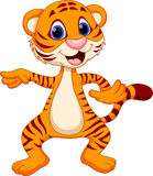 Cute tiger cartoon dancing. On a white background Royalty Free Stock Photo