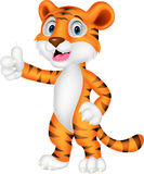 Cute tiger cartoon giving thumb up Royalty Free Stock Photos