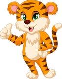 Cute tiger cartoon giving thumbs up Stock Photo