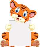 Cute tiger cartoon holding blank sign. Illustration of Cute tiger cartoon holding blank sign Royalty Free Stock Photography