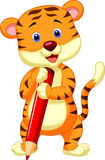Cute tiger cartoon holding red pencil Royalty Free Stock Photo
