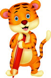 Cute tiger cartoon holding red pencil Stock Images