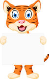 Cute tiger cartoon holding sign Stock Image