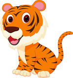 Cute tiger cartoon. Illustration of Cute tiger cartoon isolated on white Royalty Free Stock Photography