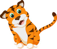 Cute tiger cartoon. Illustration of cute tiger cartoon isolated on white Royalty Free Stock Photos