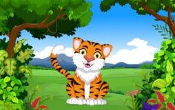 Cute tiger cartoon in the jungle. Illustration of cute tiger cartoon in the jungle Stock Image