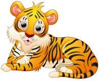 Cute tiger cartoon lay down. Illustration of Cute tiger cartoon lay down Royalty Free Stock Photo