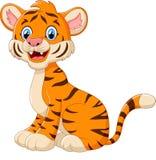 Cute tiger cartoon sitting. Illustration of Cute tiger cartoon sitting Royalty Free Stock Photography