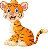Cute tiger cartoon sitting. Illustration of Cute tiger cartoon sitting Royalty Free Stock Image
