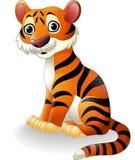 Cute tiger cartoon sitting. Illustration of Cute tiger cartoon sitting Royalty Free Stock Images