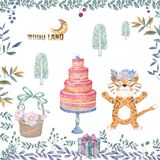 Cute tiger cartoon tasty card, cake, wooden basket and floral illustration set for party invitation, greeting, birthday, greeting. Cute tiger cartoon tasty card royalty free stock photos