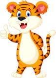 Cute tiger cartoon thumb up. Illustration of Cute tiger cartoon thumb up Royalty Free Stock Images