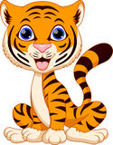 Cute tiger cartoon. On a white background Stock Photo