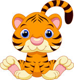 Cute tiger cartoon. With a white background Stock Photography