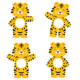 Cute tiger character in 4 acting set Stock Photography